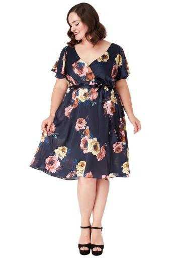 Sukienka Czarna W Kwiaty Suknia Na Wesele 44 Uk 16 7775856492 Allegro Pl