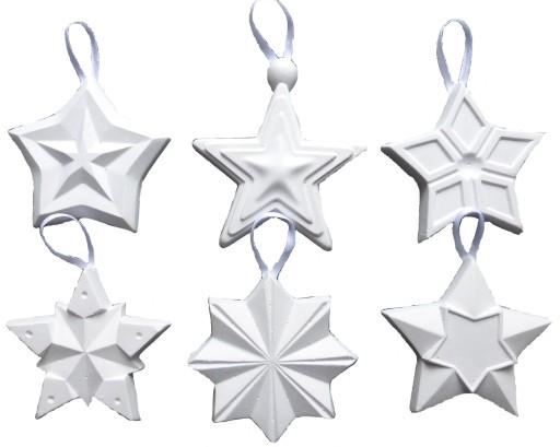 Figurki gipsowe świąteczne gwiazdki choinka 6 szt.