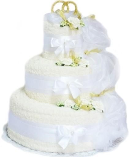 Świeże TORT z 10 RĘCZNIKÓW Prezent na Ślub Rocznicę Ślubu 6228549827 IX62