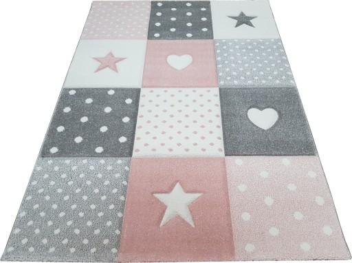 Dywan Forkids 3d 120x170 W Gwiazdy Gwiazdki Różowy