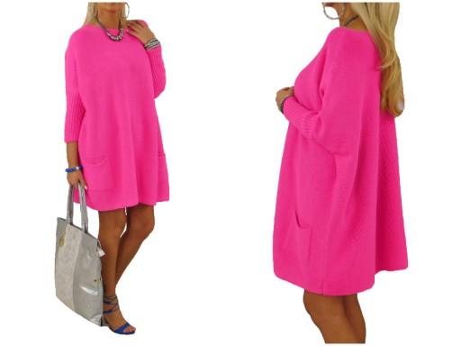5dad91bc289e05 325# Długi Luźny Sweter Tunika Neon Róż Oversize 7180293634 - Allegro.pl