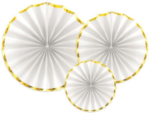 Rozety Białe Złote Gody Dekoracja Sali Wesele 3szt