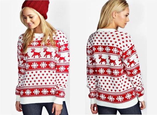 Sweter Z Sniezynkami Kremowy Swieta Rozmiar M L 8500829942 Allegro Pl