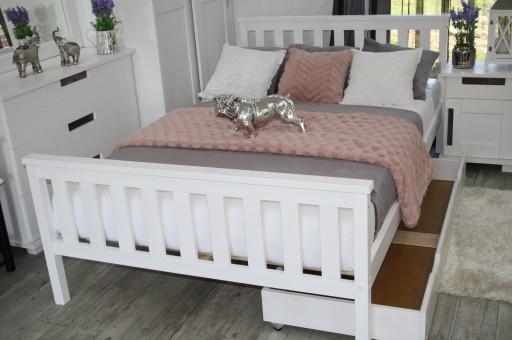łóżko Drewniane Białe Iza 120x200stelaż Producent
