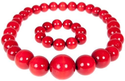 451e3b7a5bb9bb Drewniane KORALE + BRANSOLETKA czerwone GÓRALSKIE 6950275360 ...