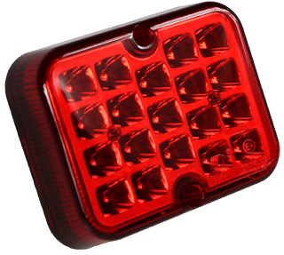 ZIBINTAS (LEMPOS-FAROS) GALINE PRIESRUKINIS LED RAUDONA 12V LEDINE