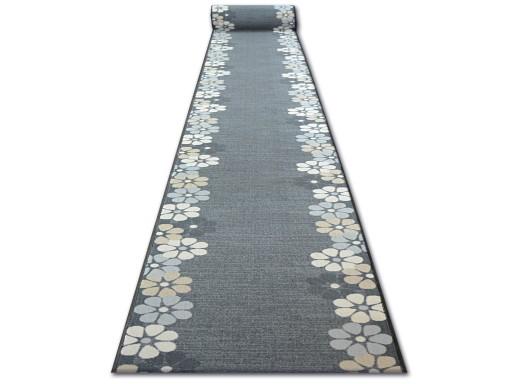 Dywany łuszczów Chodnik Sky 67 Kwiaty Szary Q2492