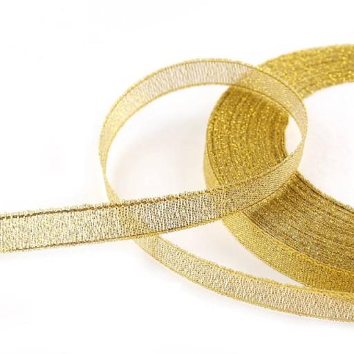 Wstążka tasiemka brokatowa 6mm 32mb złota srebrna