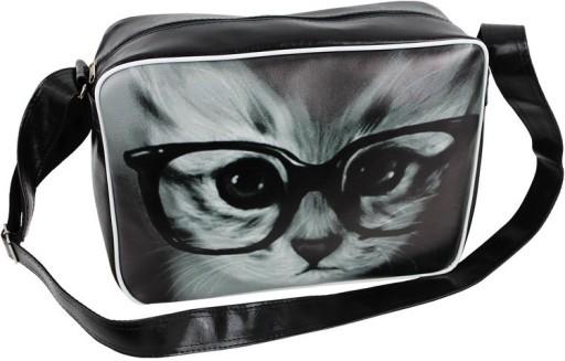742d91b2509ce Torba Szkolna Młodzieżowa Nadruk Kot w okularach 5951480811 - Allegro.pl