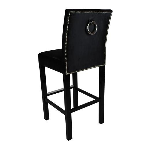 Hoker Z Kołatką Krzesło Barowe Pikowane Glamour
