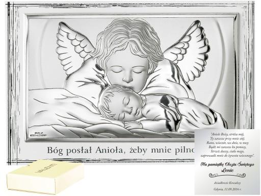 222146f2db XL DUŻY OBRAZEK SREBRNY ANIOŁ STRÓŻ CHRZCINY IMIĘ 7443720906 ...
