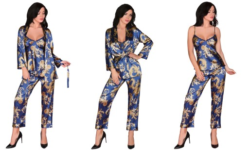 455050d09c1d24 NOHEMI 3 części satynowa piżamka ze szlafrokiem *L 7090006706 ...