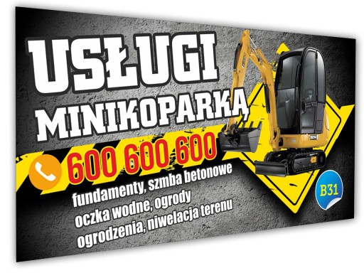 Reklama Baner reklamowy - Usługi minikoparką