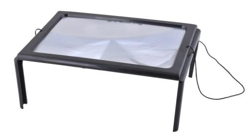 Duża Lupa A4 Do Czytania Szkło Powiększające + Led