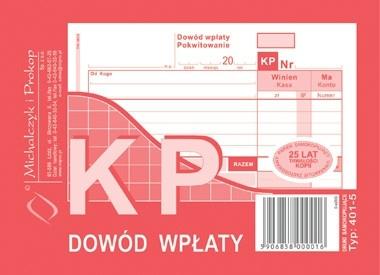 Druk KP A6 TYP 401-5 dowód wpłaty kasa przyjmie