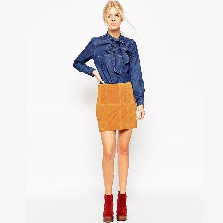 Women's denim shirt with a bow cheaply XXL 44 9664446432 Odzież Damska Topy GV IWEFGV-3