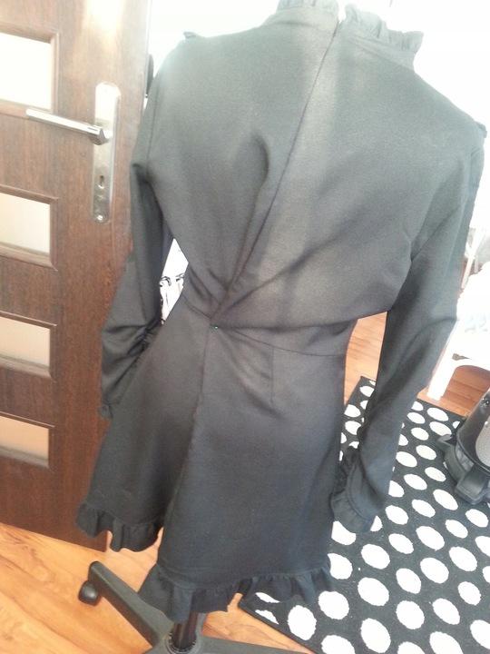 piękna mini sukienka pensjonarka falbanki CUDO 9835778758 Odzież Damska Sukienki wieczorowe FL NEFGFL-3