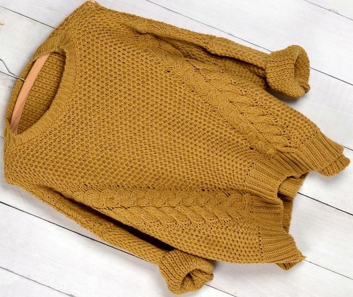 603 CIEPŁY OTULAJĄCY SWETER KLASYK WARKOCZ 7711435037 Odzież Damska Swetry UP PARSUP-5