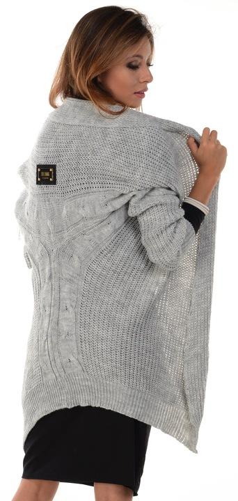Kardigan Włoski Sweter z warkoczem SZARY NARZUTKA 6949153913 Odzież Damska Swetry YM BKZFYM-5